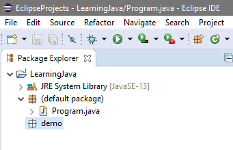 Empty package in Eclipse Project Explorer