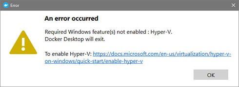 Hyper-V not enabled error