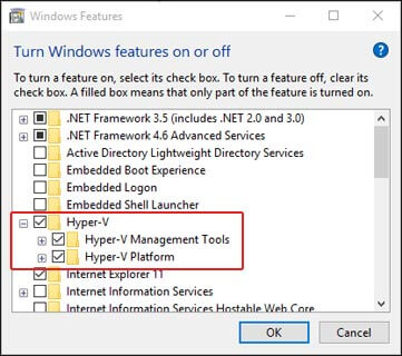 Enable Hyper-V Features on Windows