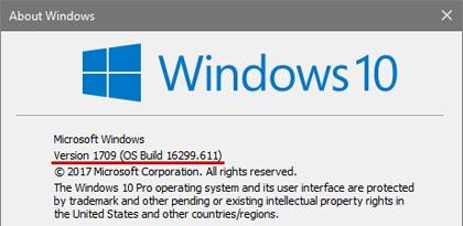 Windows version information